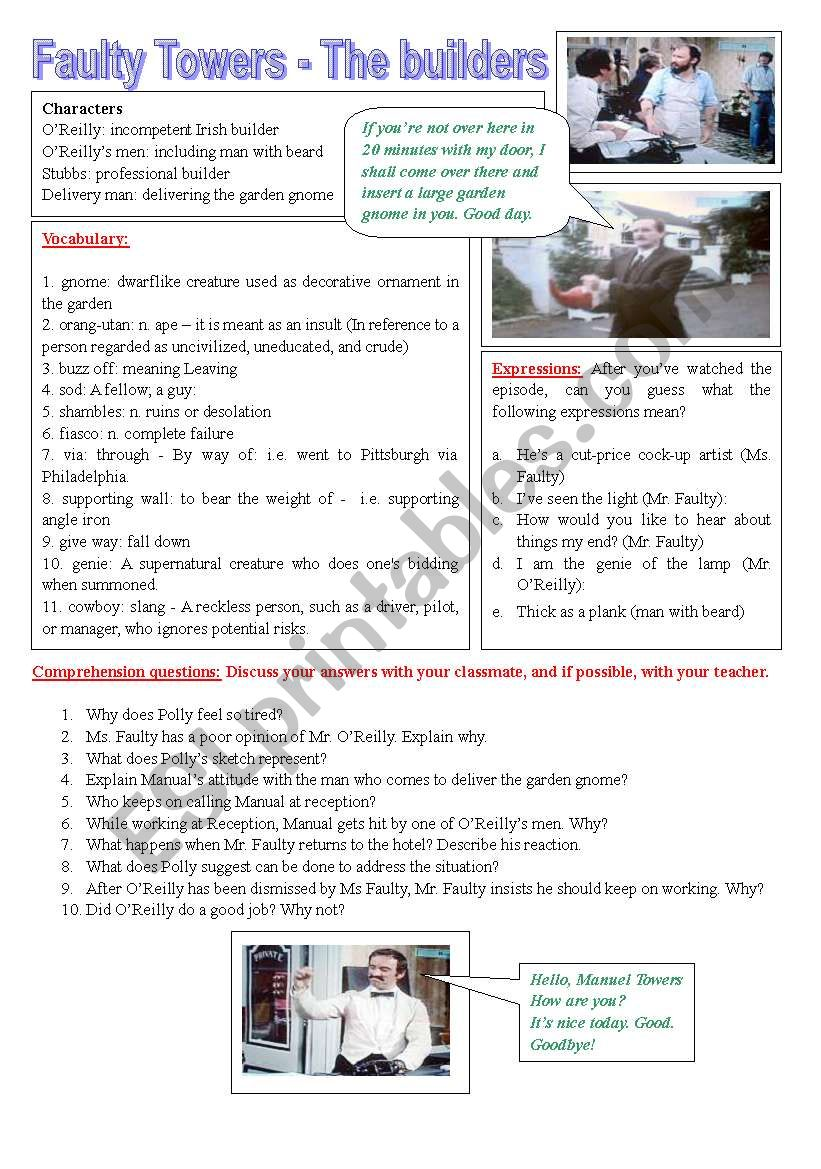 Fawlty Towers - The Builders - ESL worksheet by GSCASS