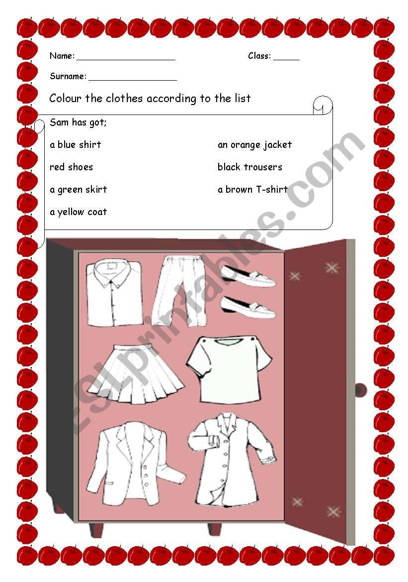 Sam´s Wardrobe worksheet