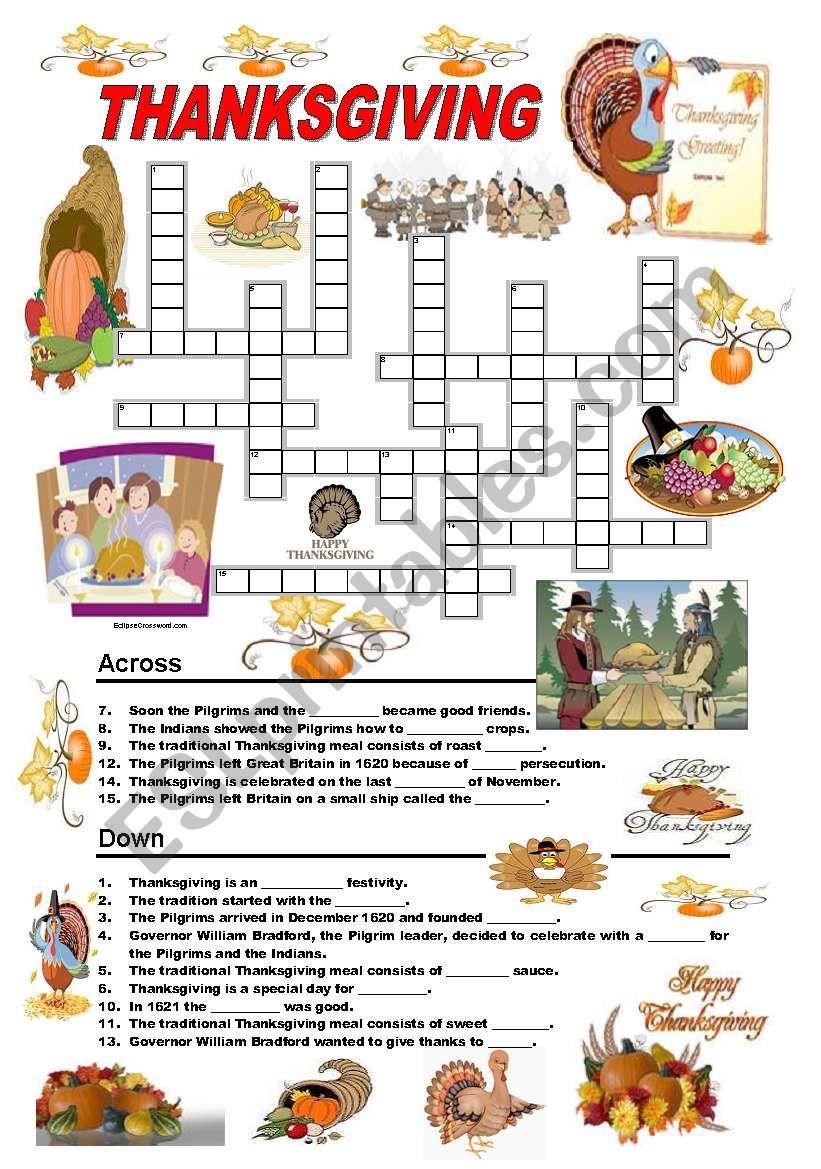 Thanksgiving - crossword worksheet