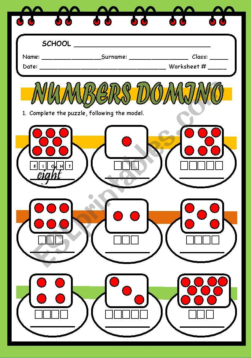 NUMBERS DOMINO worksheet