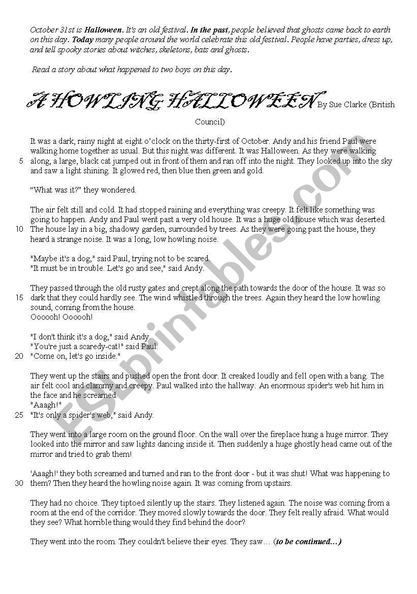 Halloween: Reading and questions - ESL worksheet by