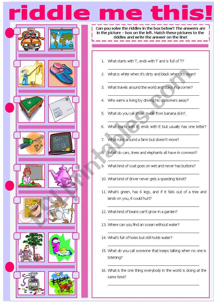 RIDDLE ME THIS! worksheet