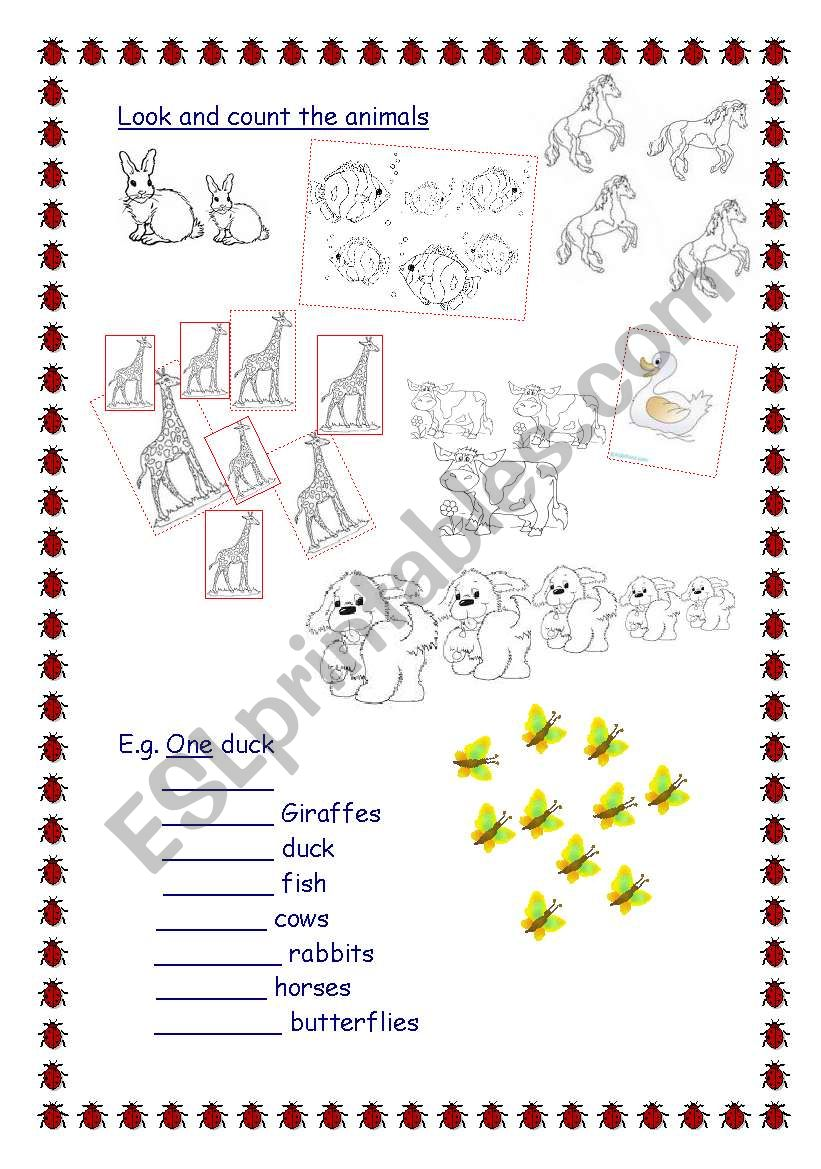 numbers and animals worksheet