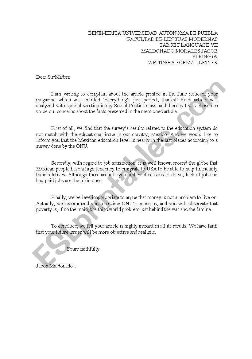 Letter In English Formal from www.eslprintables.com