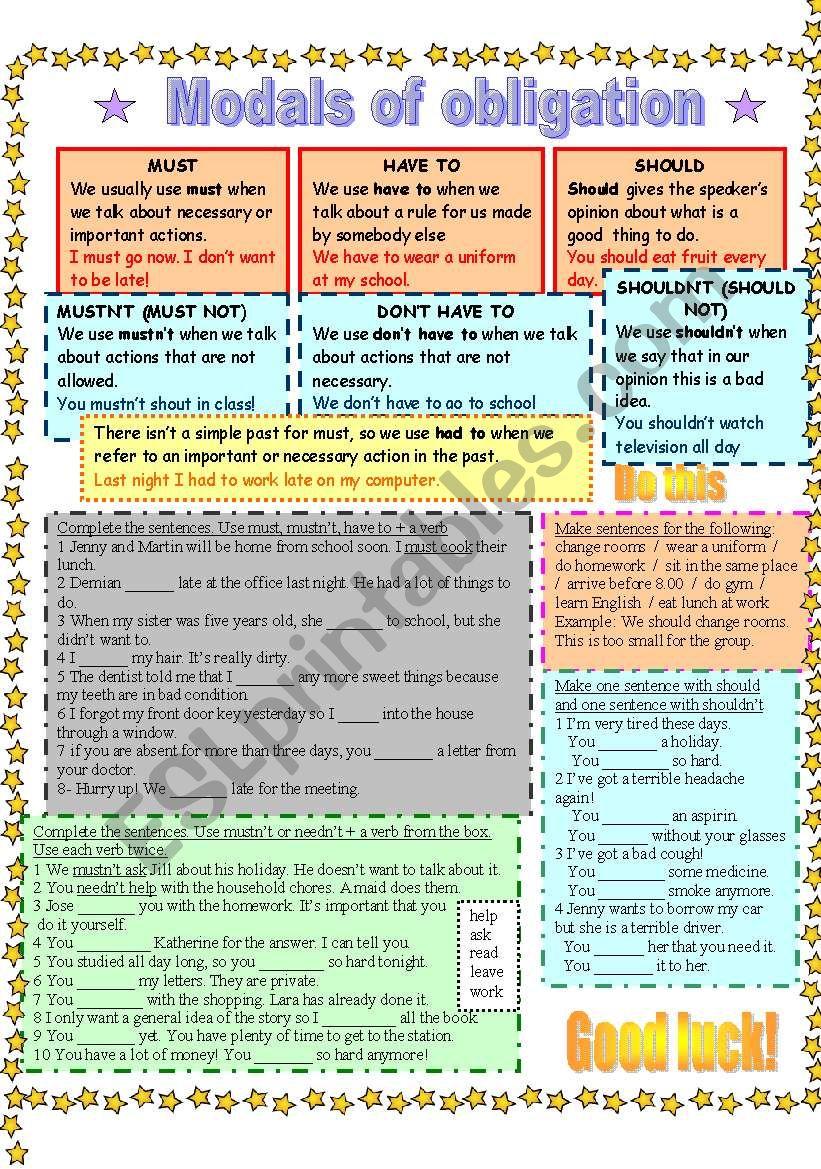 Modals of obligation worksheet