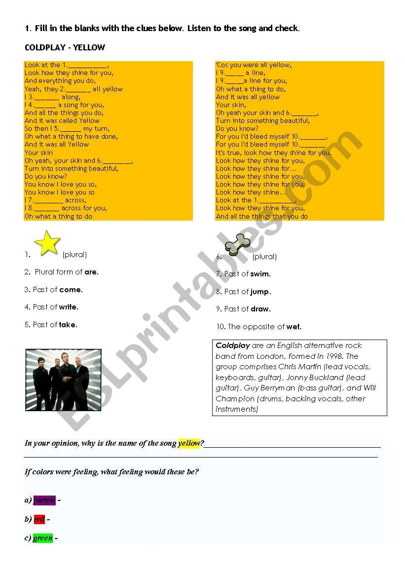 SONG YELLOW - COLDPLAY  worksheet
