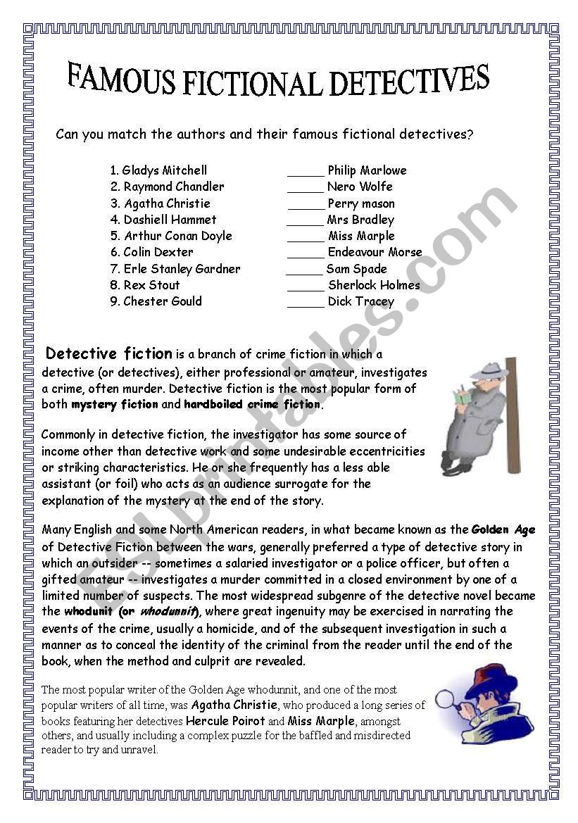 Famous fictional detectives worksheet