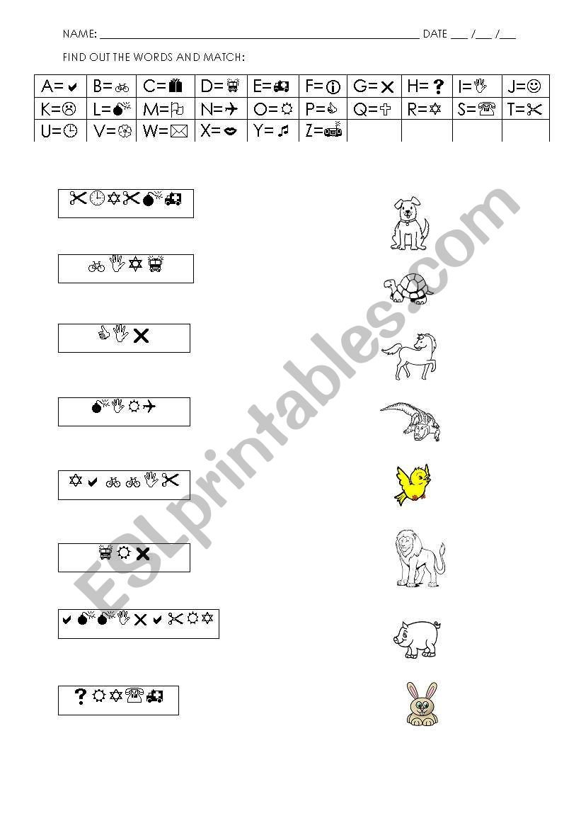 FIND OUT THE ANIMALS - CODES worksheet