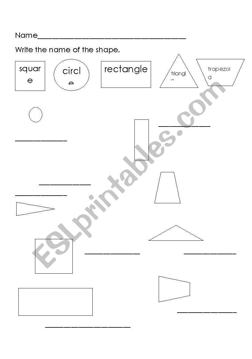 shape names worksheet