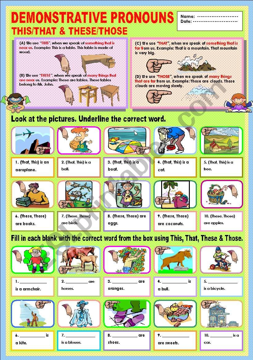 Demonstrative Pronouns This/That & These/Those