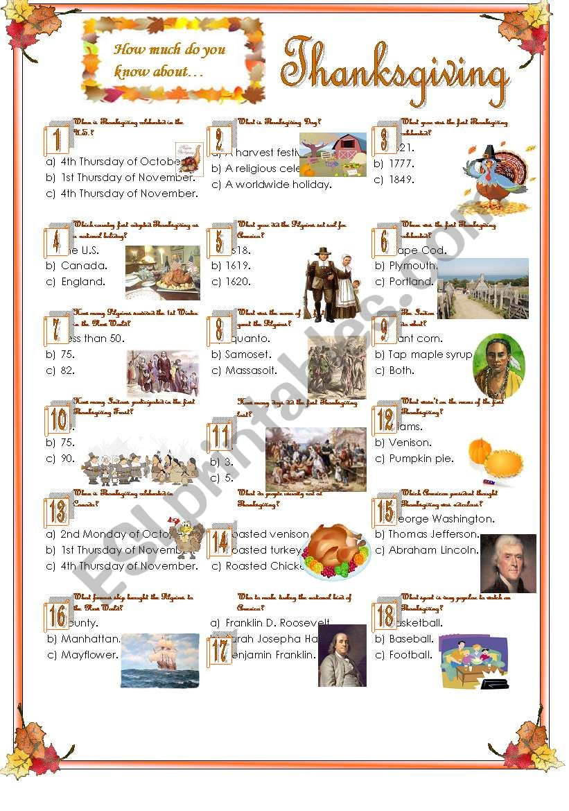 Thanksgiving-Quiz worksheet