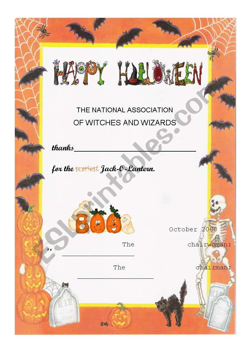 Halloween Certificate worksheet