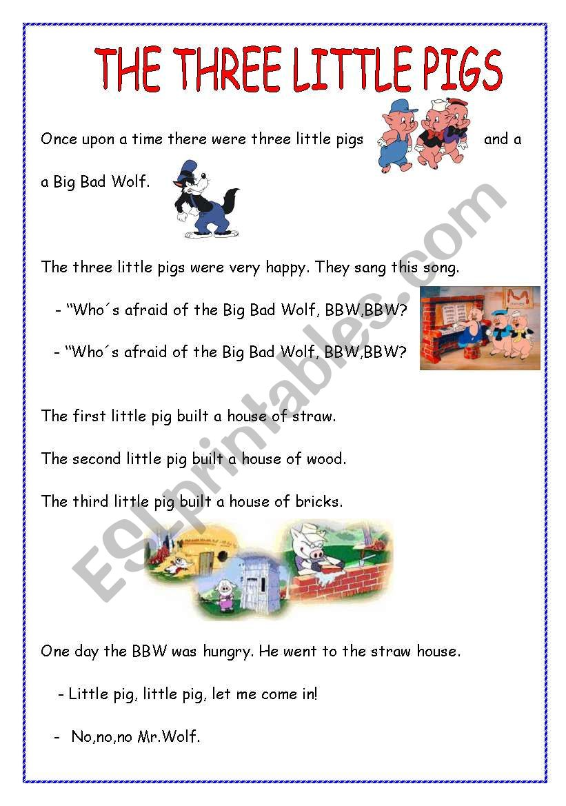image relating to Three Little Pigs Printable known as THE A few Very little PIGS - ESL worksheet via peitieiros