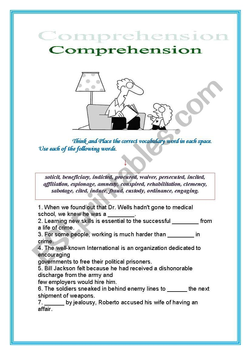 Comprehension, ENGLISH for Adults