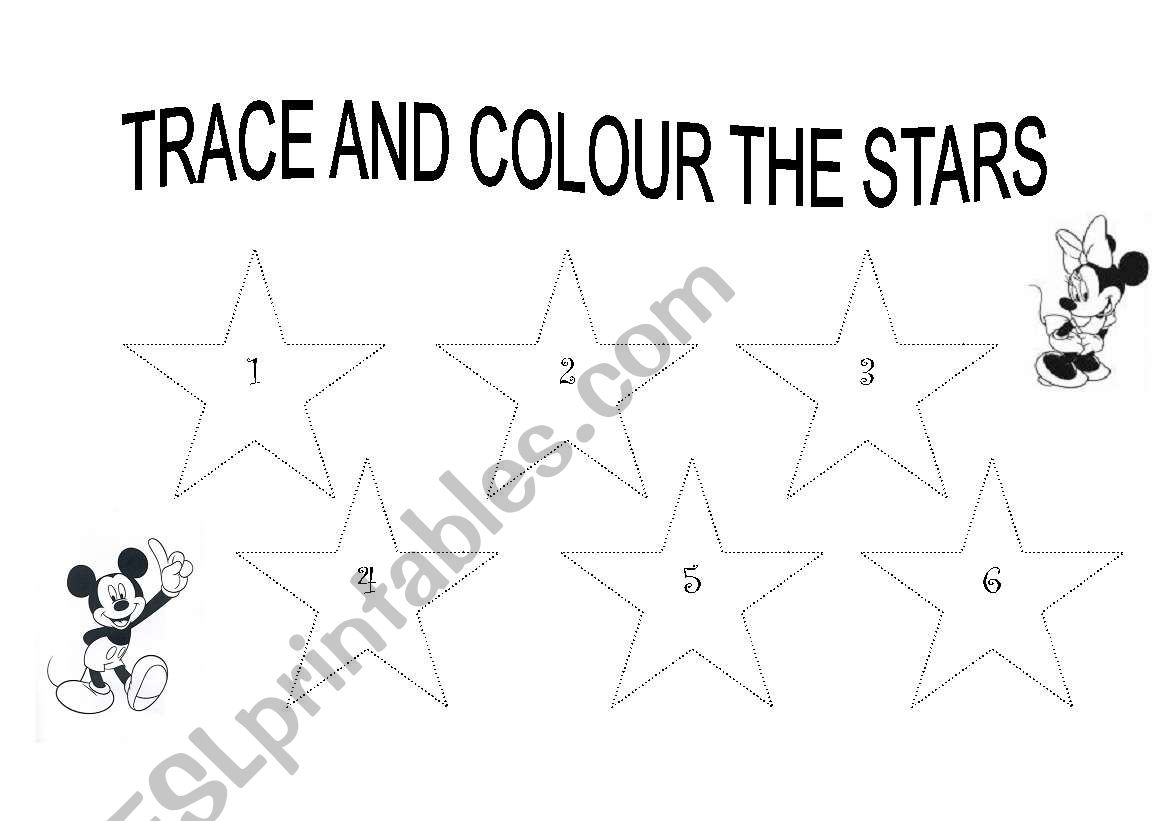 TRACE AND COLOUR THE STARS worksheet