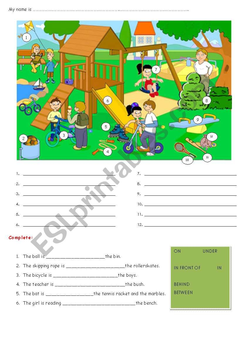 FUN AND GAMES - PREPOSITIONS OF PLACE