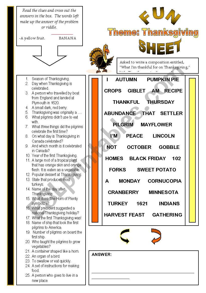 Fun Sheet Theme: Thanksgiving worksheet