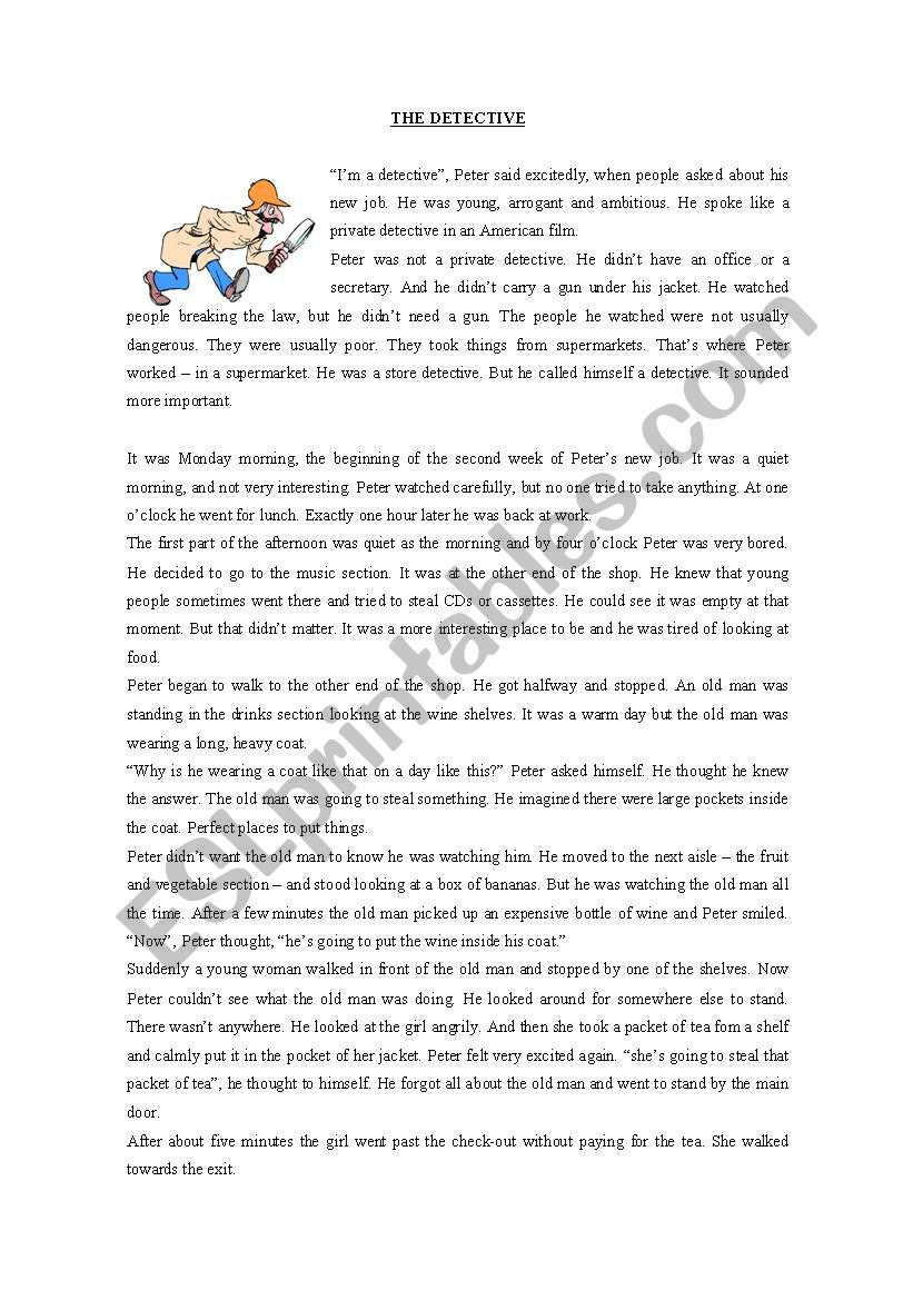The detective story worksheet