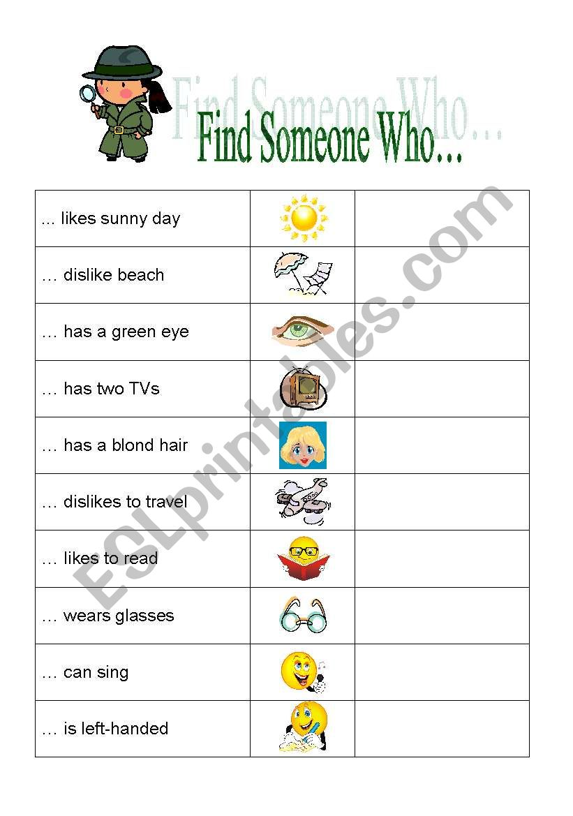 Find Someone Who... worksheet