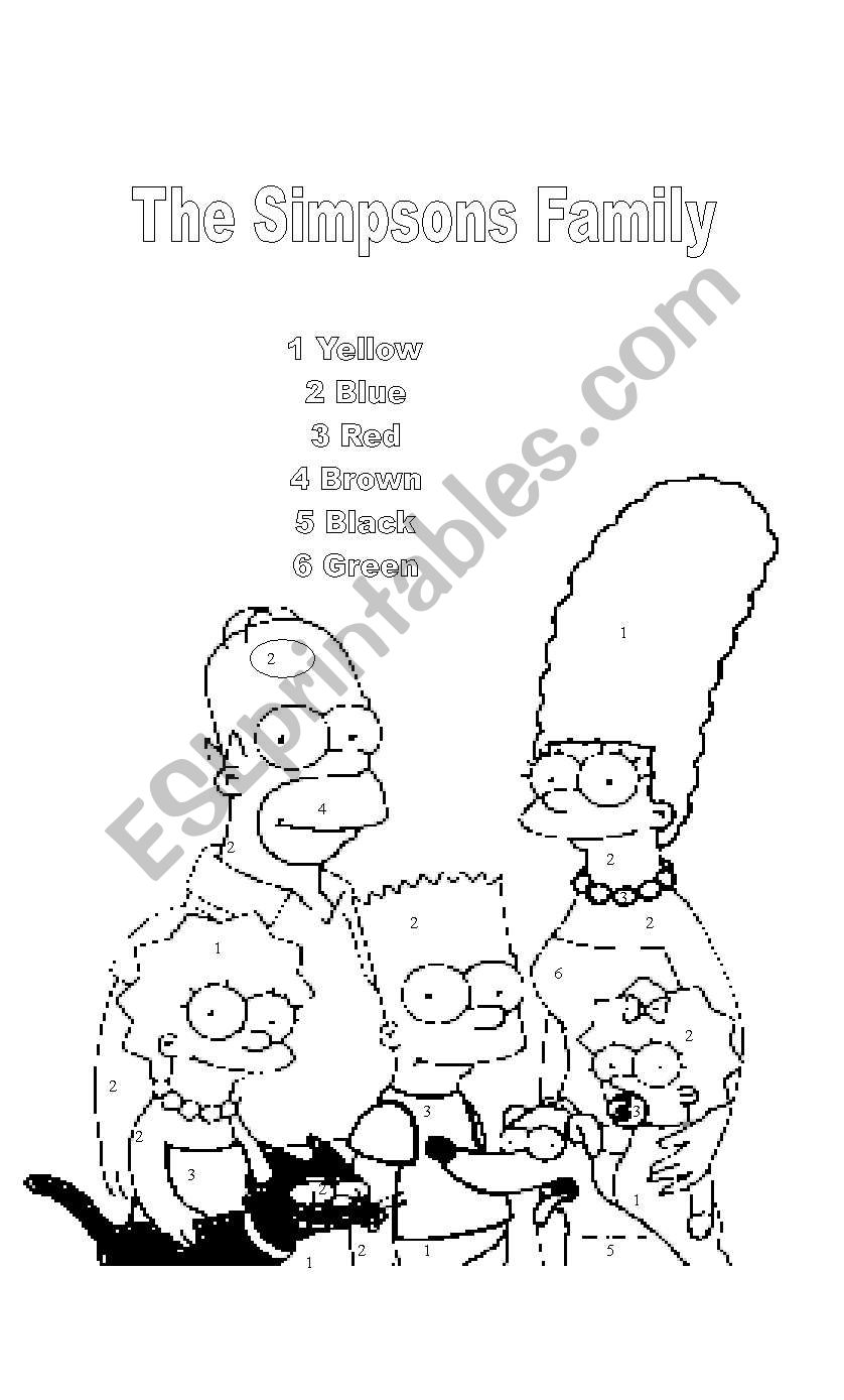 the simpsons family for coloring