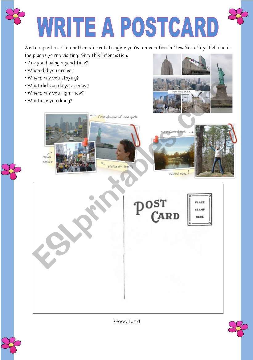 Write a postcard worksheet
