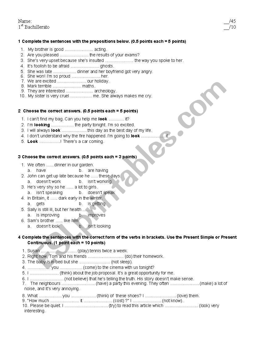 first bachillerato revision worksheet