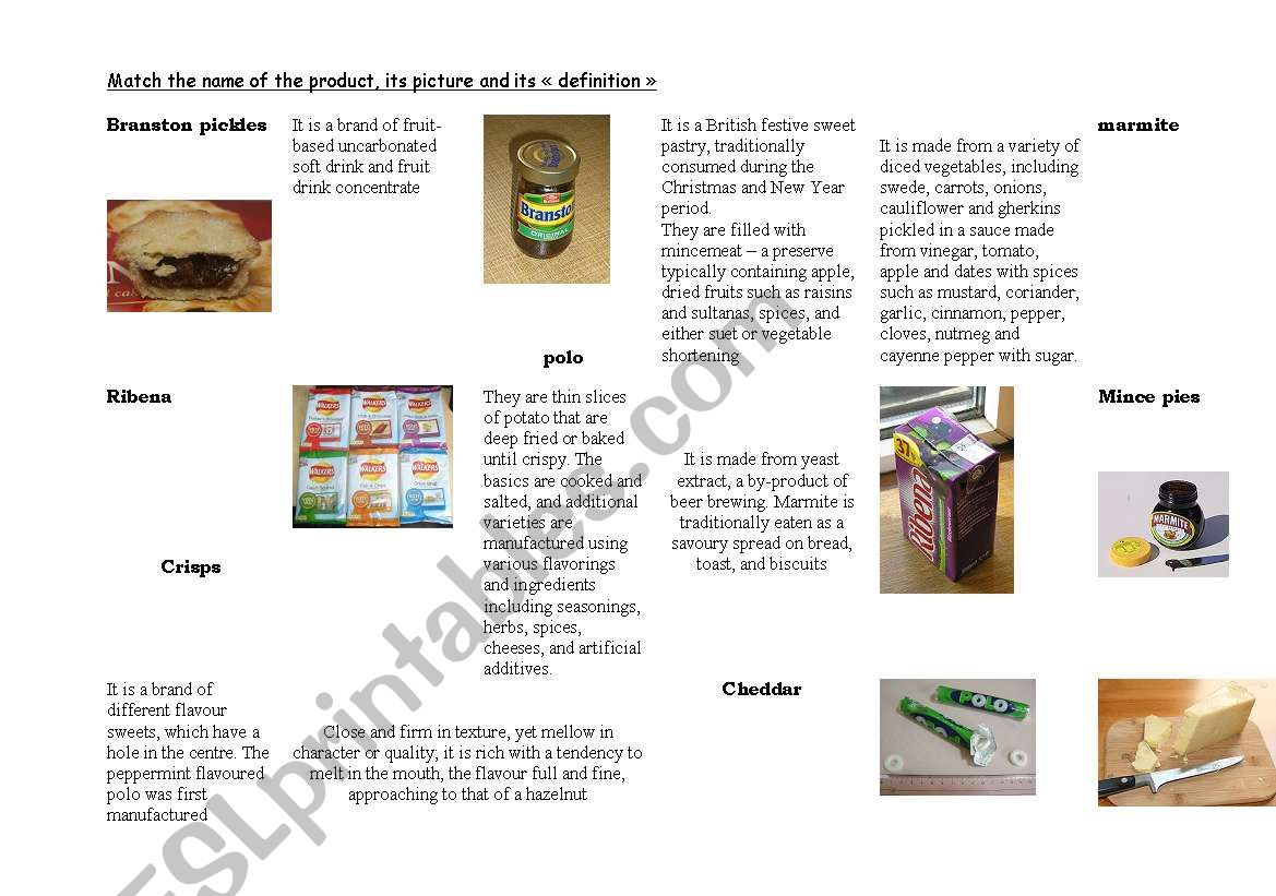 British food/ blind taste worksheet