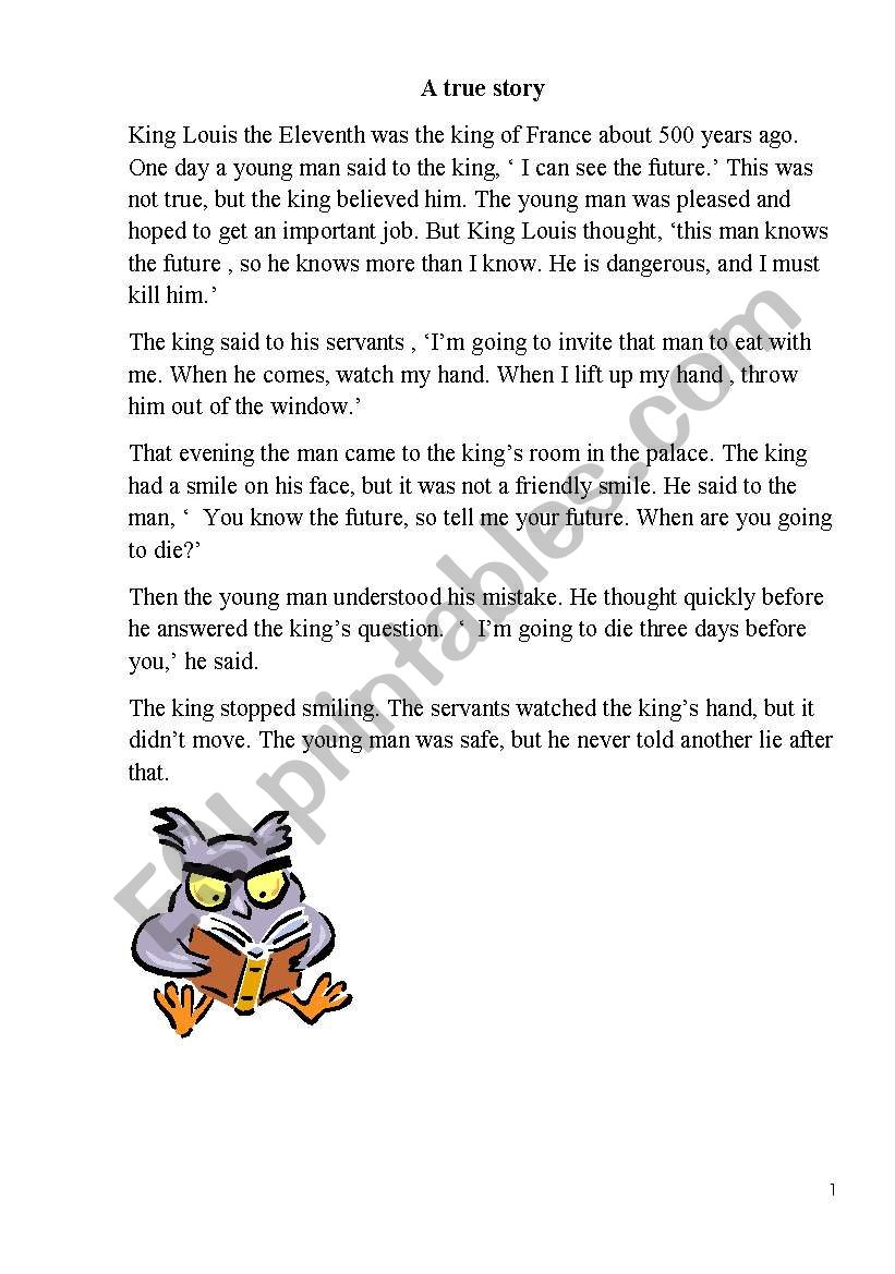text for reading worksheet