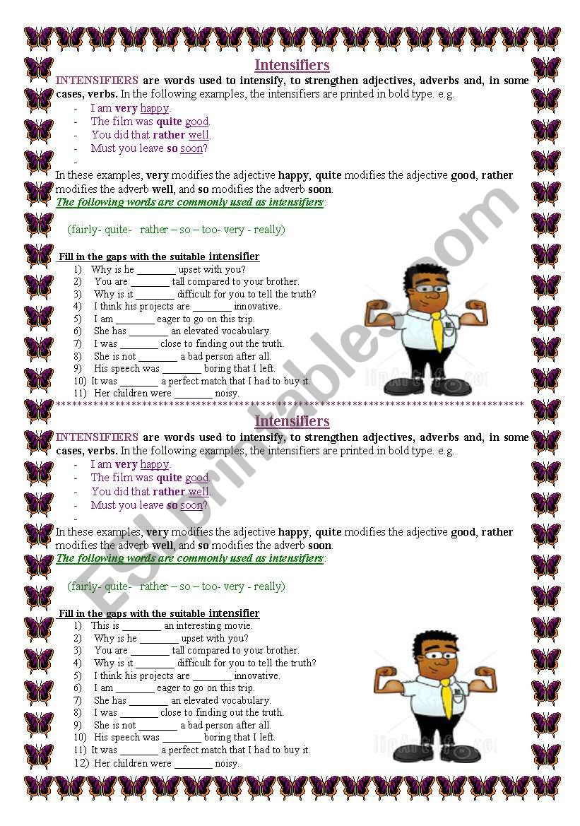 intensifiers worksheet