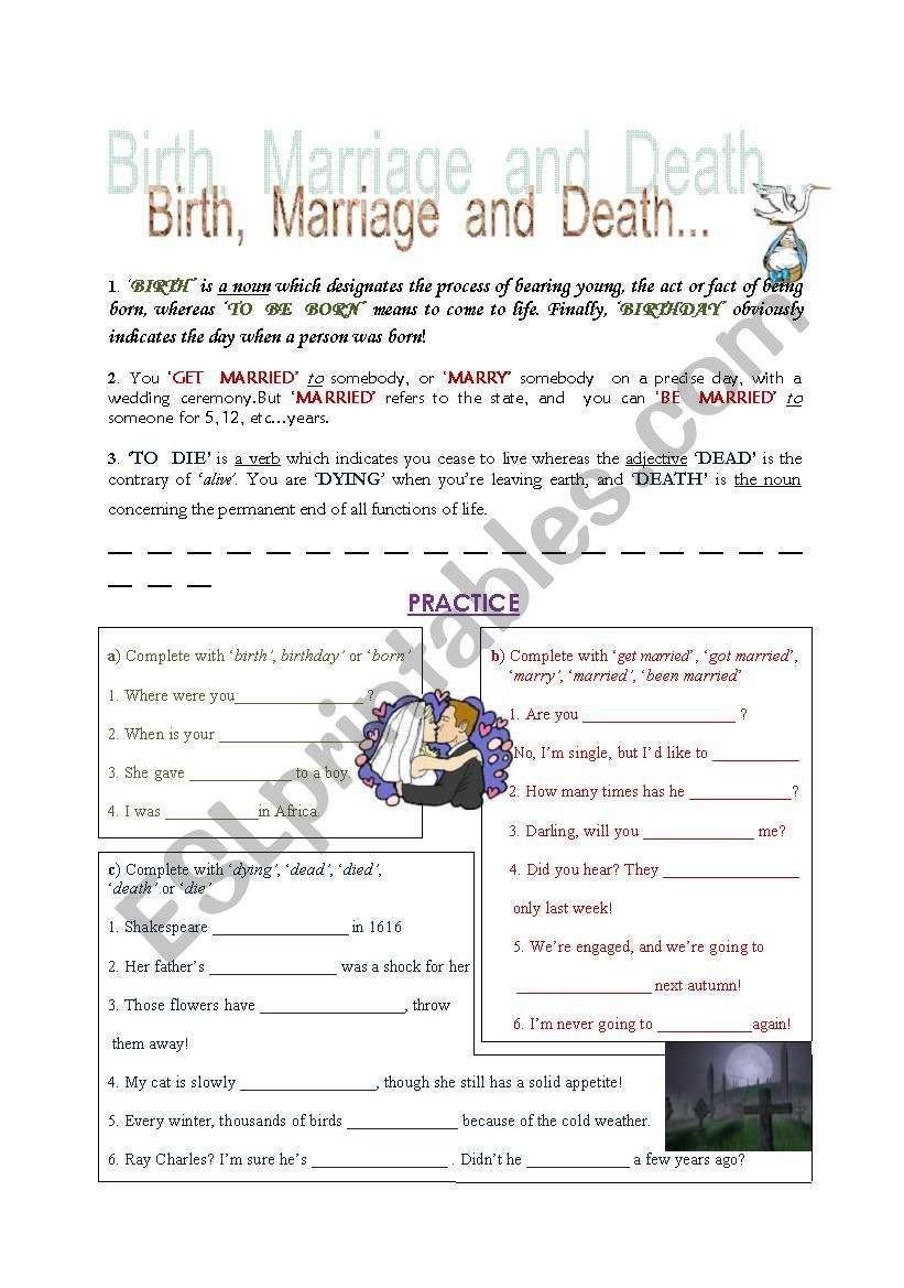 Birth, marriage and death, useful vocabulary