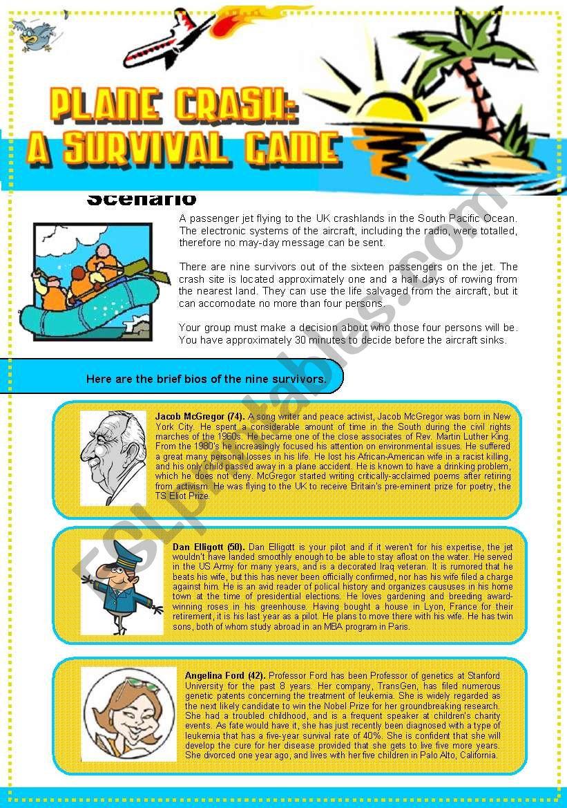 Plane Crash: A Survival Game worksheet