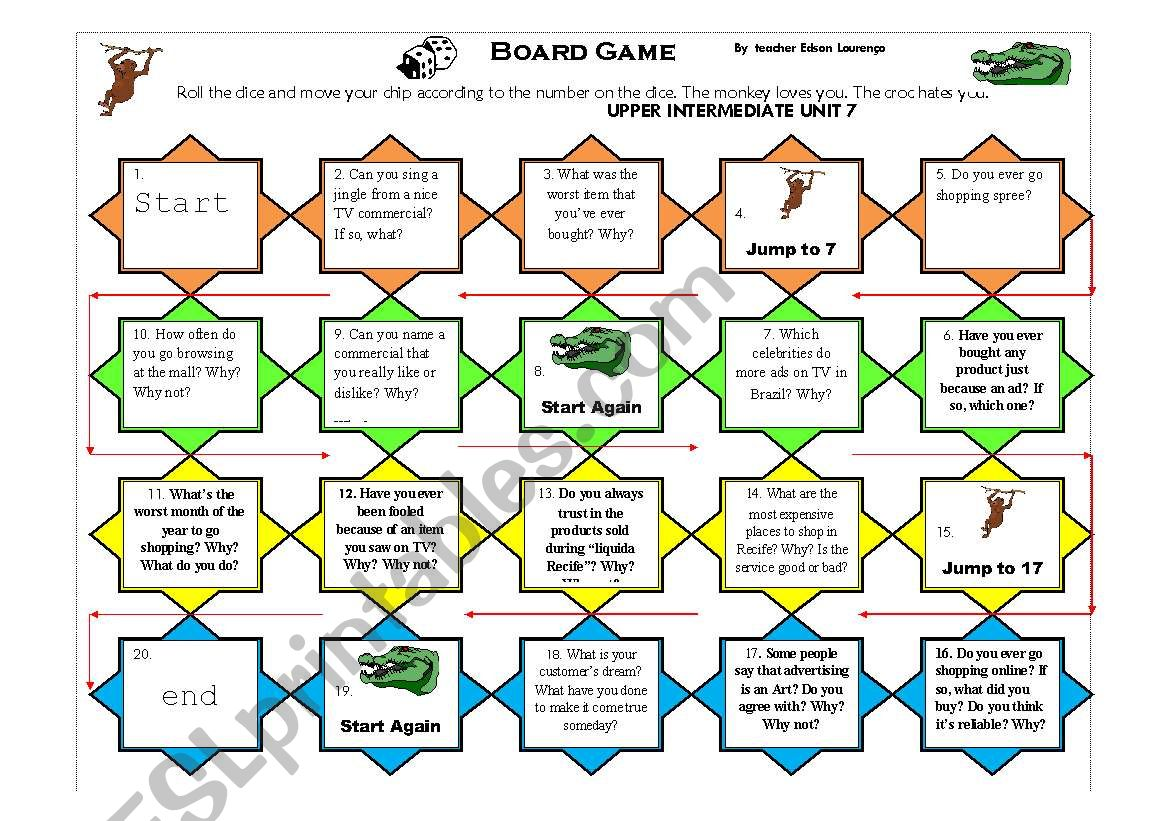 board game to talk about advertisement