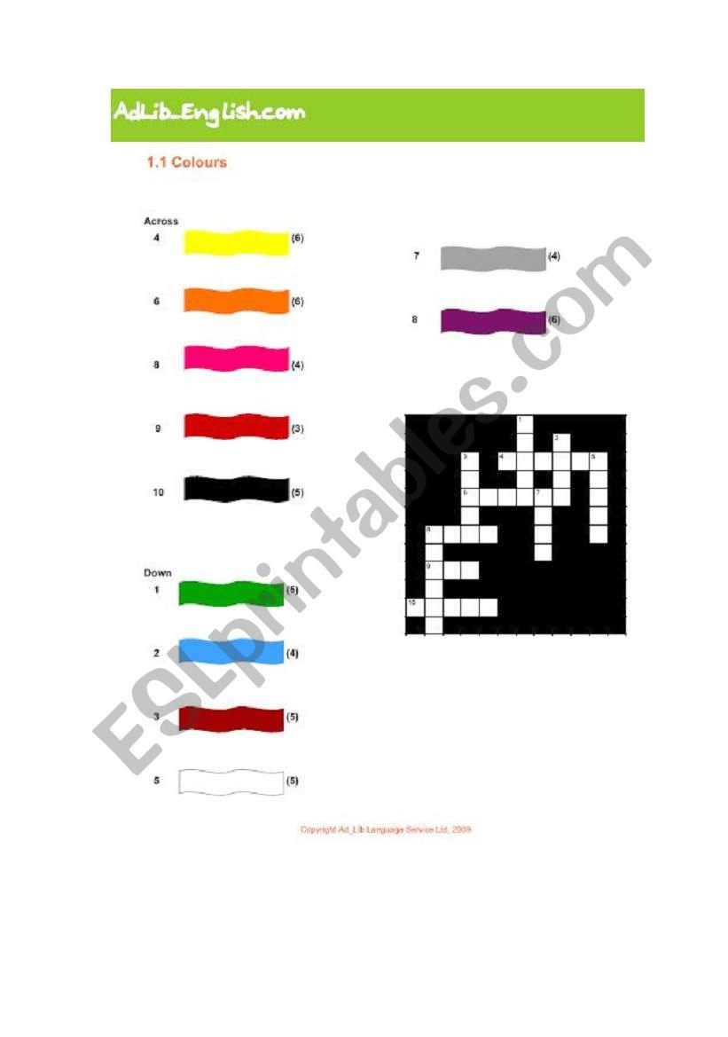 crossword colours worksheet