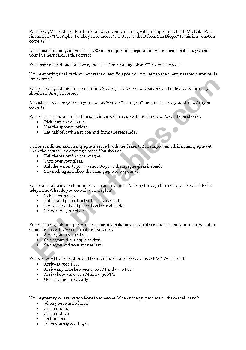 Business English (Culture) worksheet