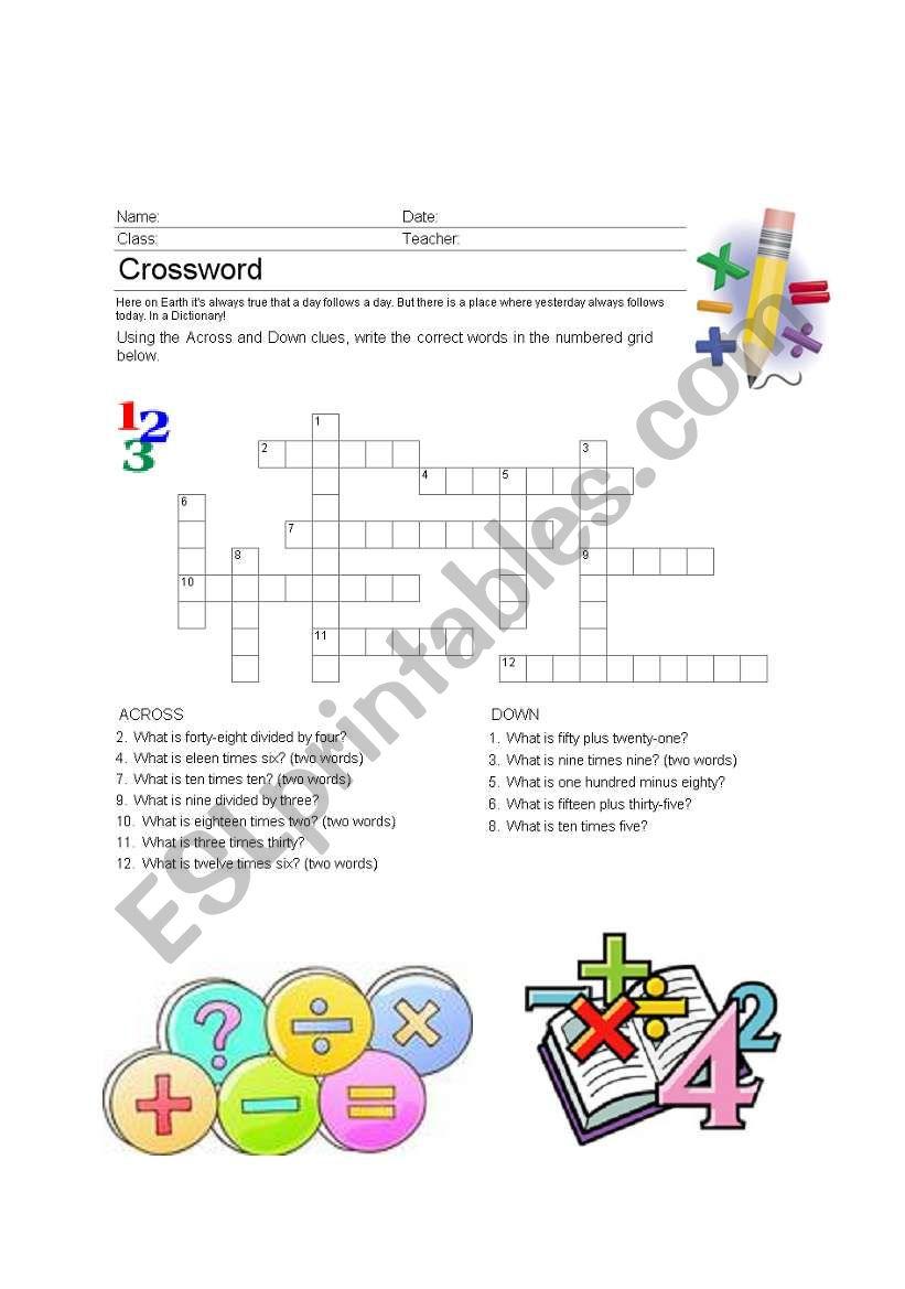 Math in English worksheet