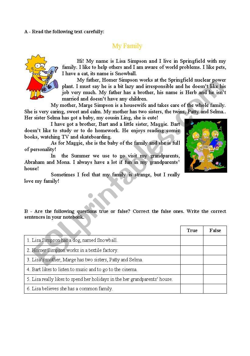 - Reading And Comprehension Text About Family - Simpsons (2 Sheets