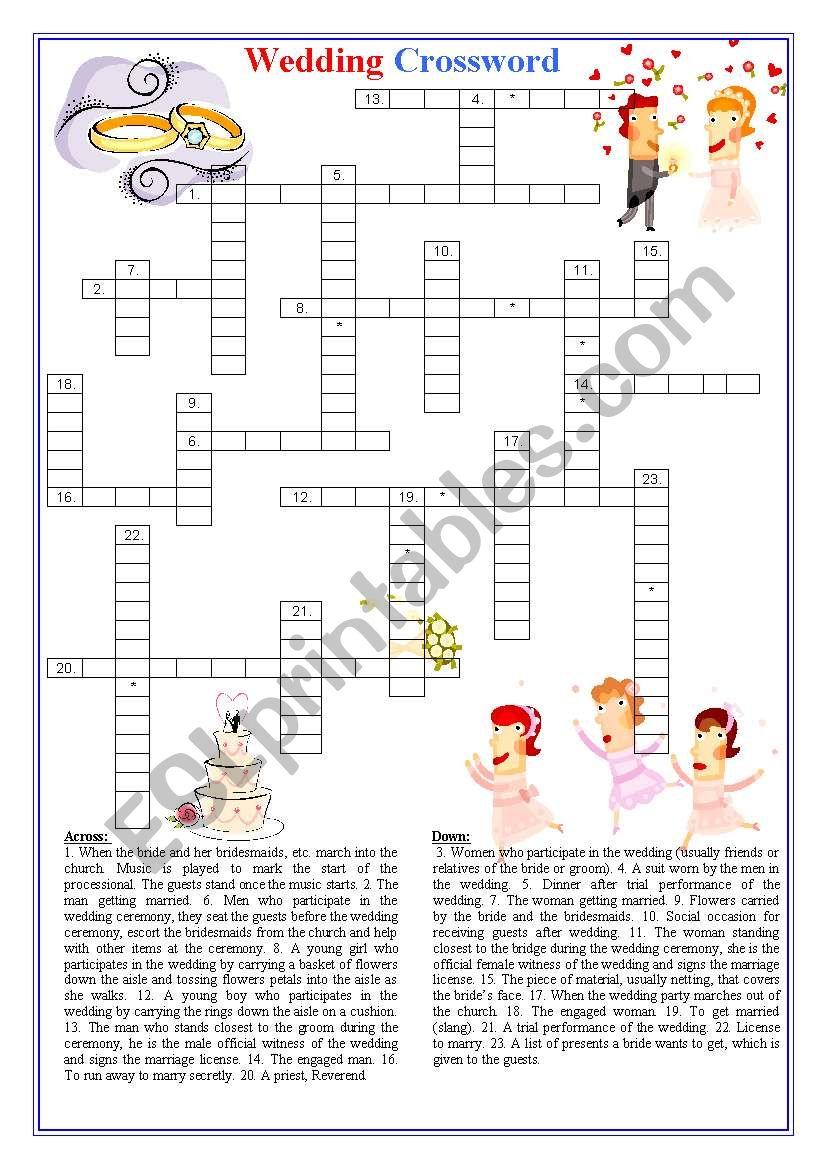 Wedding crossword worksheet
