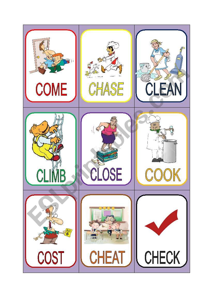 VERB CARDS 4 worksheet