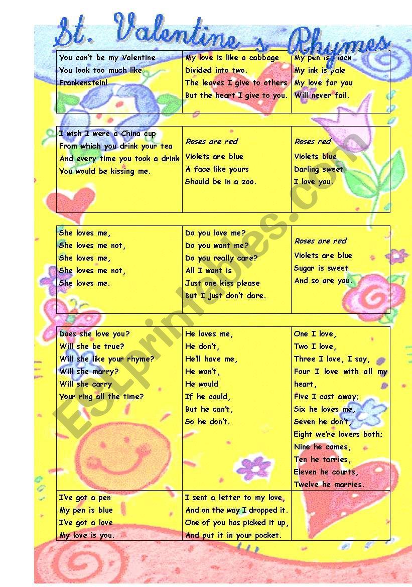 Valentine´s Rhymes worksheet