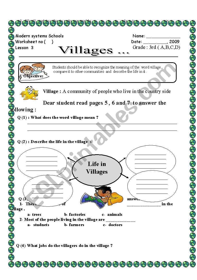 - English Worksheets: Vilages Social Studies