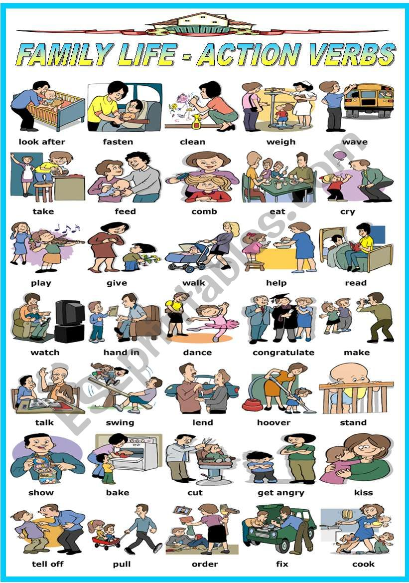 FAMILY LIFE - ACTION VERBS (B&W VERSION INCLUDED)