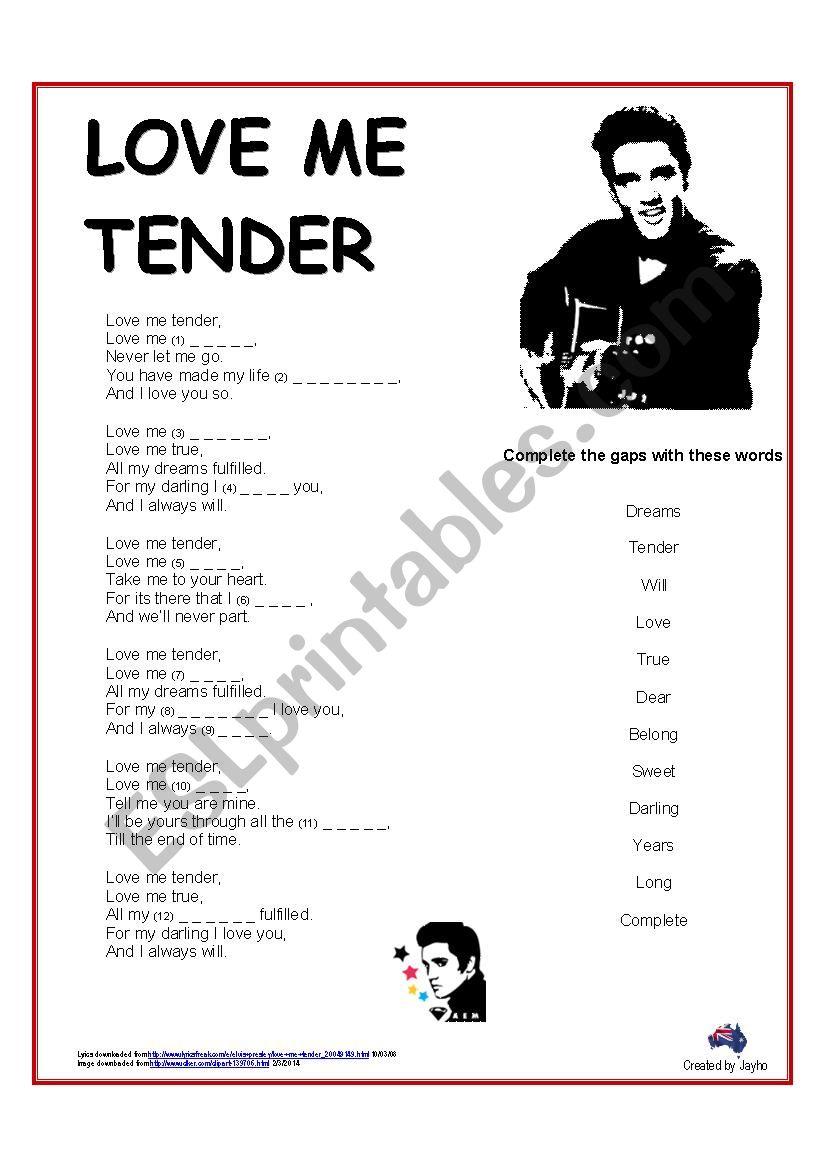 Song: Love Me Tender by Elvis (cloze)