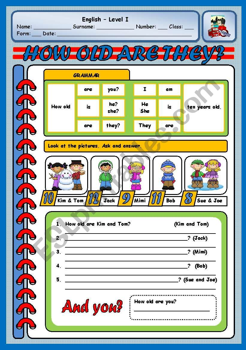 HOW OLD ARE THEY? - B worksheet