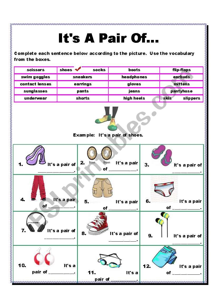 It´s A Pair Of...?  Accessories Vocabulary (2 pages)
