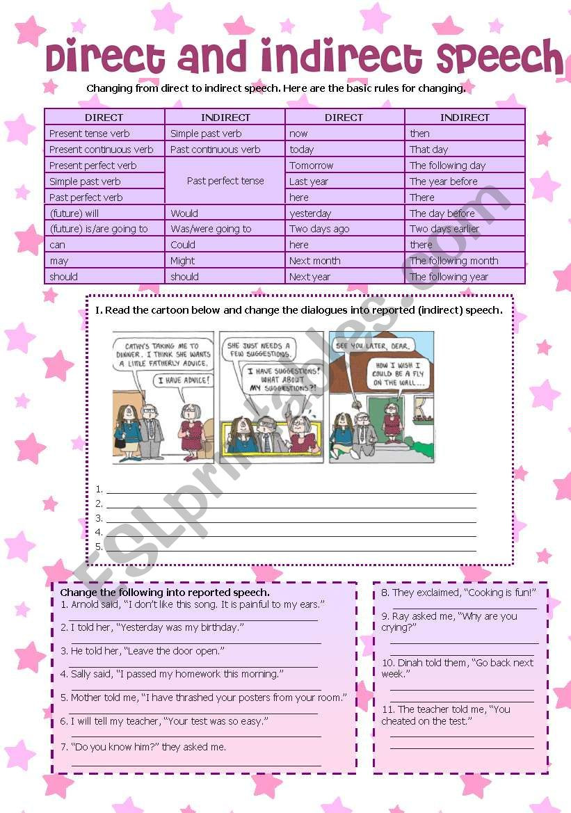 Direct and Indirect Speech worksheet