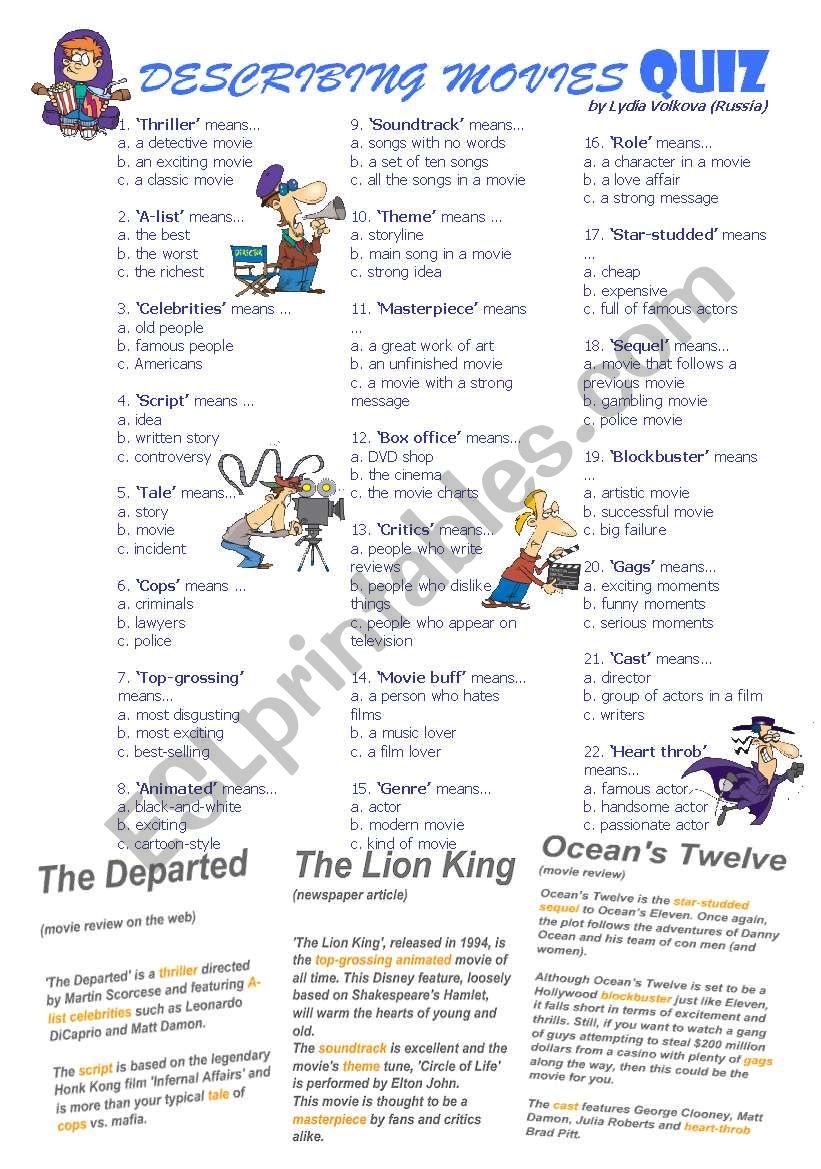 DESCRIBING MOVIES QUIZ worksheet