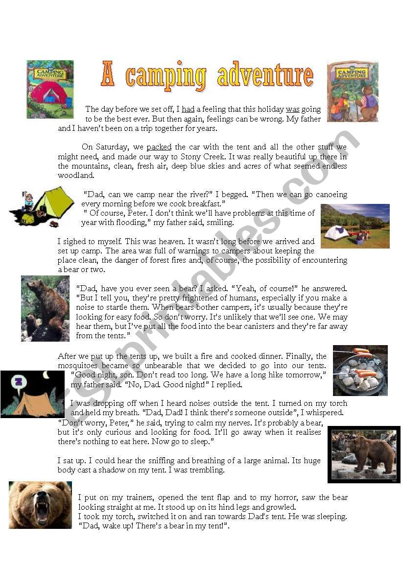 A camping adventure worksheet