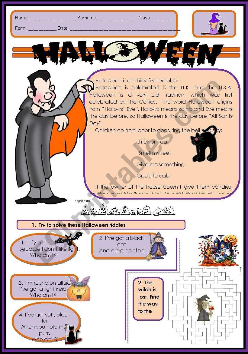 Halloween story, riddles worksheet