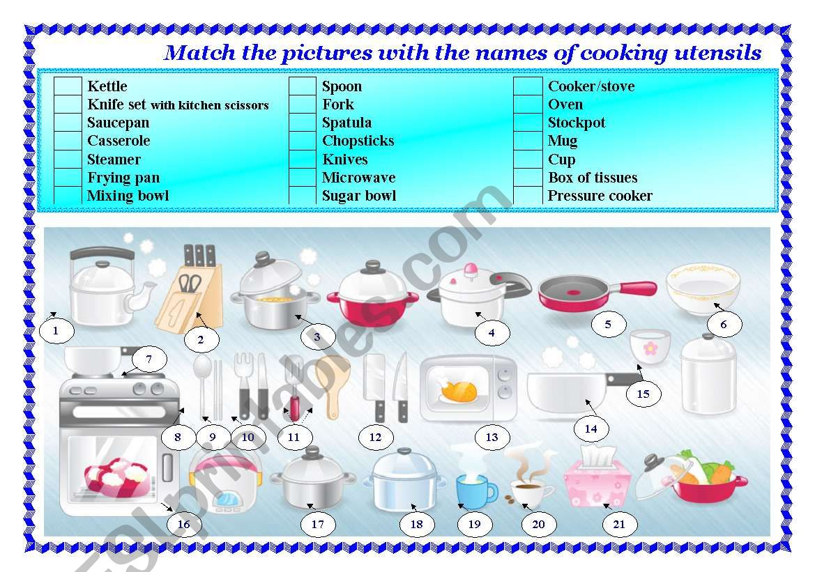 Cooking utensils worksheet