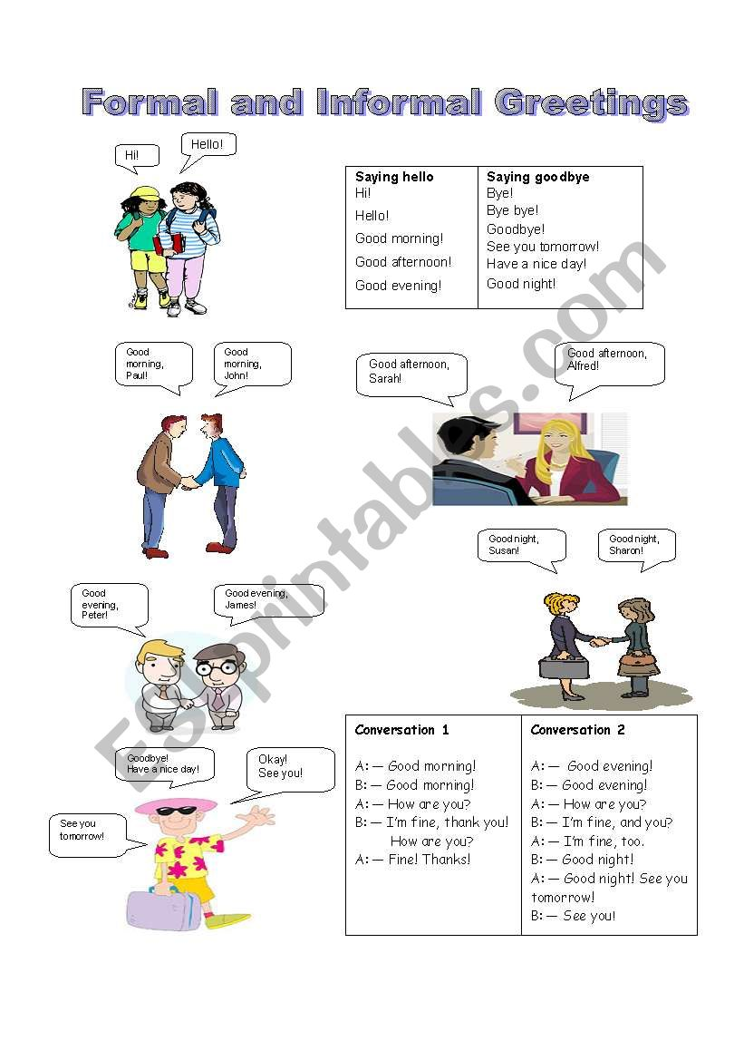 Formal And Informal Greetings Esl Worksheet By Teachercarine
